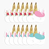 NICROLANDEE 12pcs Unicorn Party Decoration Kids Paper Mask Birthday Halloween