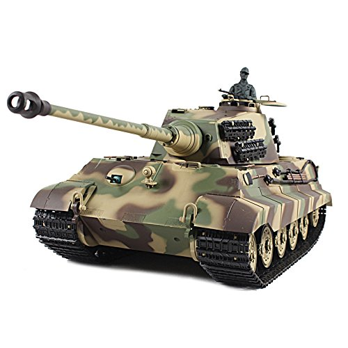 (1/16 Scale Radio Remote Control German King Tiger Henschel Turret Air Soft RC Battle Tank Smoke & Sound)