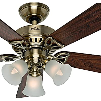 "Hunter Fan 42"" Traditional Antique Brass Ceiling Fan with 3-Light Kit and Frosted Shades, 5 Blade (Certified Refurbished)"