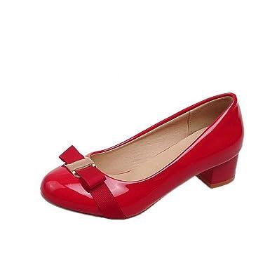 AgooLar Damen Ziehen auf Rund Zehe Niedriger Absatz Lackleder Rein Pumps Schuhe