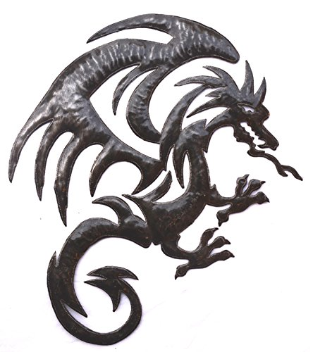 (Dragon Metal Wall Hanging Artwork, Unique Original Art from Haiti, 20.5