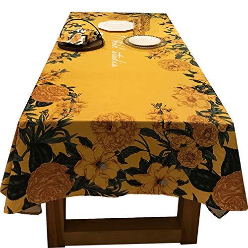 長方形のアメリカの田園の家庭用茶何テーブルの布の黄色の防水テーブルの布の茶何布のテーブルの布の布(100*140cm) 100*140cm  B07RVBTV5B