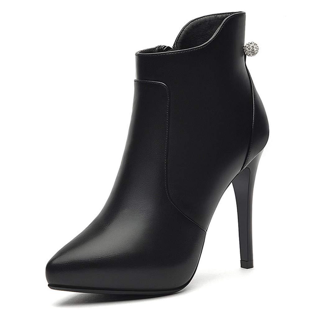 Shirloy Frauen Stiefel Spitzen Reißverschluss Stiefel Frauen Strass Stiletto Damen Lederstiefel hochhackige Plattform Damenschuhe