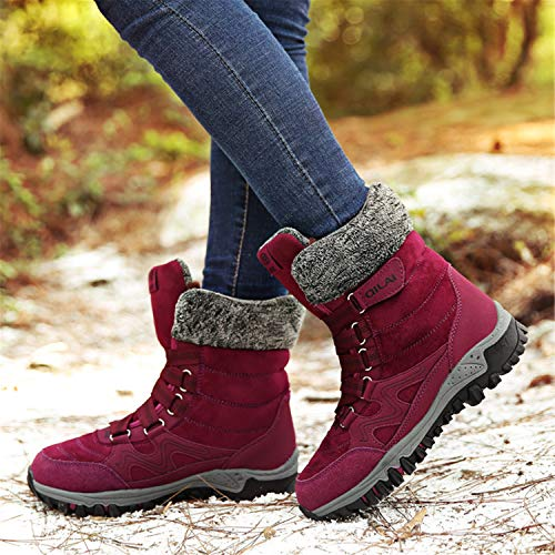 Zapatos Planas Nieve Aire Libre Boots Mujer Velcro Botas Rojo Impermeables Oscuro Calientes De Botines Invierno A7ggwH