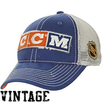 0a434a91413 NHL CCM Edmonton Oilers Vintage Meshback Trucker Snapback Adjustable Hat -  Navy Blue Natural  Amazon.ca  Sports   Outdoors