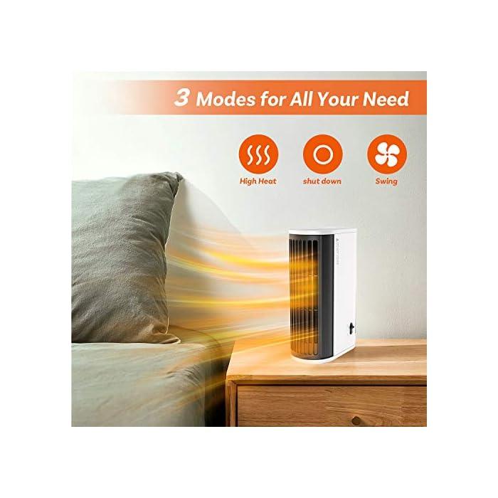 51oXBHnNk1L ▶Buen Compañero de Invierno: Nuestro calentador de aire caliente está hecho de material ignífugo ABS y tiene un diseño de protección contra sobrecalentamiento, seguro de usar. Incluso en el frío invierno, puede disfrutar de un calor ilimitado. ▶Calentamiento Rápido y Ahorra Energía: Nuestro mini calentador genera calor a través del cable calefactor, que puede calentarse más rápido que los calentadores normales. Gracias a la potencia de hasta 500 vatios, el aire se calienta de manera eficiente y se puede tambien ahorrar electricidad. ▶Ultra Fácil de Usar: Con diseño de dos velocidades ajustables, fácil de operar. Presione el botón hacia la izquierda para encender el modo de calentar el aire; presione hacia la derecha para entrar el modo de calentar el aire + movimiento de cabeza.