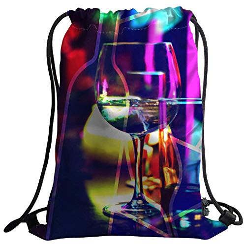 (Uangdglu Gym Bag Sack Drawstring Sports Backpack Wine Glass Dazzling Lights Psychedelic Night Small Mult 2)