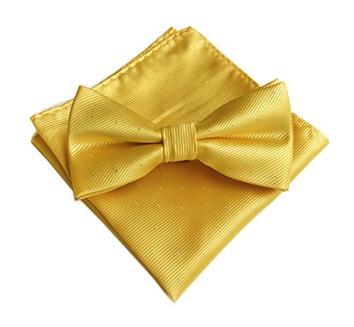 Men's Gold Bow Tie and Pocket Square Set Husband Gift Groomsmen Bowtie Boys Gift