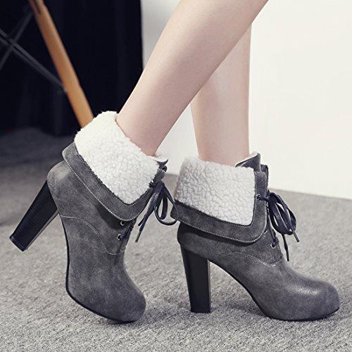 YE Damen Blockabsatz Ankle Boots Plateau High Heels Schnürstiefeletten mit Schnürung und Reißverschluss Retro Bequem Schuhe Grau