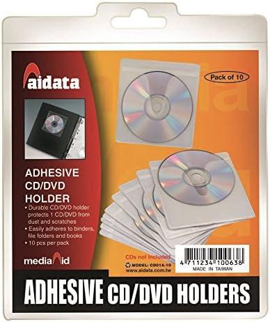 AIDATA 72132 Pack de 10 Adhesivo reposicionable Bolsillos para CD/DVD, Color Blanco: Amazon.es: Informática