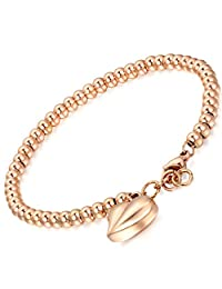 Flongo Womens Ladies Stainless Steel Beads Link Wrist Bracelet, 7.1 inch