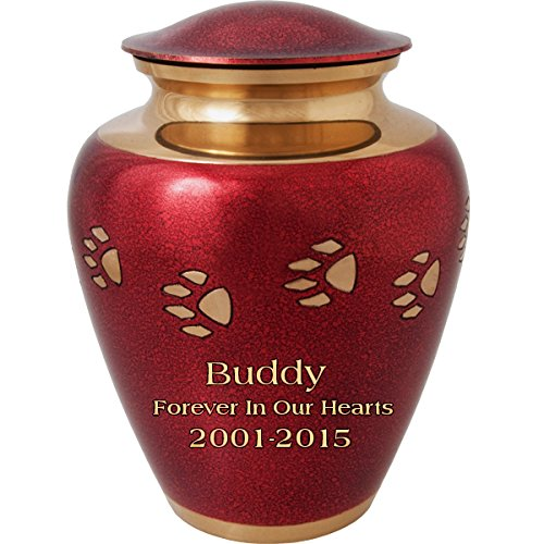 Custom Red Paw Prints On My Heart Brass Pet Cremation Urn (10'' Large, Engraved) by Memorial Gallery
