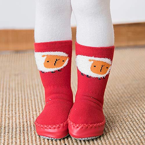 Baby Boys Girls Slippers 2-Pack Toddler Cartoon Cute Thick and Warm Anti Slip Skid Grip Floor Socks Slipper Cotton Prewalker (S(10-18 Months), Red-1)