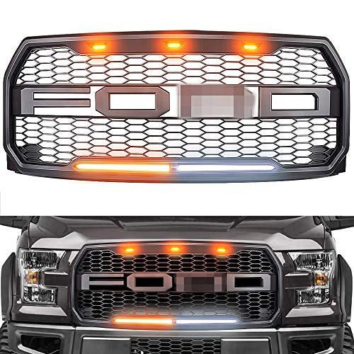 (Raptor Style Grille for 2015-2017 Ford F150, Replacement Raptor Grill Light Kit Front Bumper Grille w/F&R, Dark Gray)
