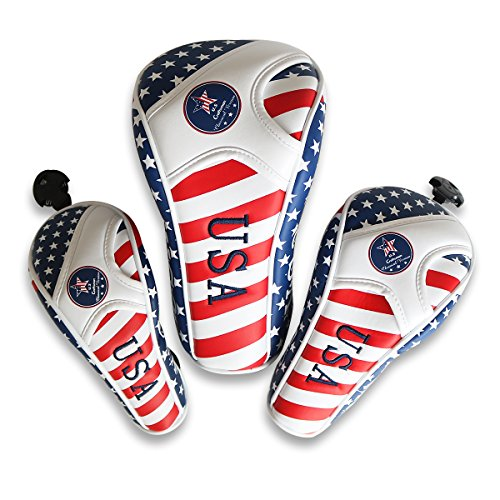 Craftsman Golf Stars and Stripes Flag Headcover Driver Head Cover for Scotty Cameron Taylormade Odyssey Driver Fairway Wood Hybrid (For Driver) (3pcs(,D,F,UT) Normal)