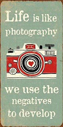 1art1 Inspiration Magnetic Tin Sign, Vintage Style Magnet - Life is Like Photography We Use The Negatives to Develop (4 x 2 - Sign Tin Magnetic