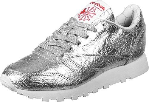 Reebok Cl Lthr Hd, Zapatillas de Deporte para Mujer Plateado (Silver Met / Snowy Grey / Primal Red / White)