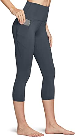 TSLA Capri Yoga Pants with Pockets, 17Inches / 21Inches Capri Workout Leggings, 4-Way Stretch Yoga Capri Leggings w Hidden/Side Pocket
