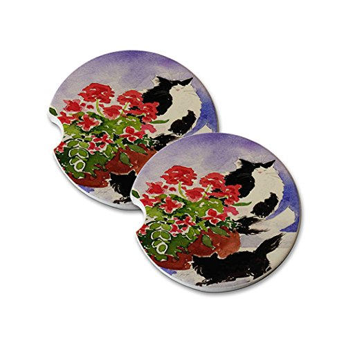 Geraniums Art - Natural Sandstone Car Drink Coasters (set of 2) - Black and Tuxedo Maine Coon Kitties with Geraniums Cat Art by Denise Every