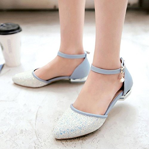 Sandals Block Blue TAOFFEN Spring Summer Ankle Fashion Women With 516 Heel Low Straps Owx0T