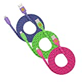 3 Pack of 2-meter (6FT) High Speed Flat Braided Lightning Cables 8-Pin Sync and Charge Cord for iPhone 6S, 6S Plus, iPhone SE (Purple Green Hotpink)