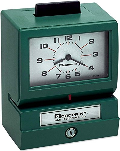 Acroprint 01-1070-400 Model 125AR3 Heavy-Duty Manual Print Time Recorder; Prints day of week, hour and minutes; Large, easy-to-read analog clock face; Antimicrobial touch bar helps protect against bacteria