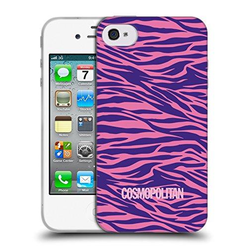 Official Cosmopolitan Pink Violet Zebra Animal Skin Patterns Soft Gel Case for Apple iPhone 4 / 4S