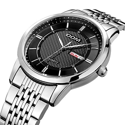 Mens Quartz Watches Stainless Steel Band Business Watch Week Date Display (Black)