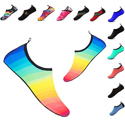 YALOX Water Shoes Women's Men's Outdoor Beach Swimming Aqua Socks Quick-Dry Barefoot Shoes for Surfing Yoga Pool Exercise Cy-color