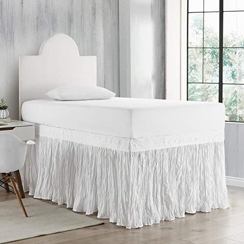 DormCo Crinkle Bed Skirt Twin XL (3 Panel Set) - White