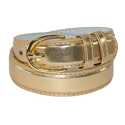 CTM Kid's Leather 1 inch Basic Dress Belt (Pack of 2), Large, Gold ()
