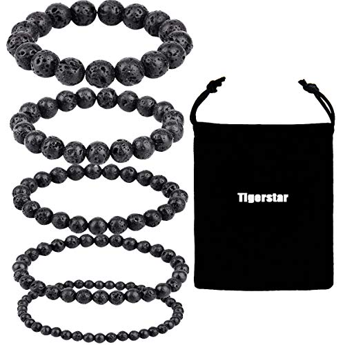 Tigerstar Natural Lava Rock Beads Bracelet 5PCS Set, Stretch Elastic Bracelet Gemstone Essential Oil Diffuser Bracelet Stretch Yoga Beaded Bangle Healing Energy Cuff for Men,Women and Kids