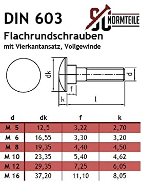 - DIN 603 aus rostfreiem Edelstahl A2 V2A 25 St/ück SC603 Vollgewinde Flachrundschrauben // Schlossschrauben M6x65 -