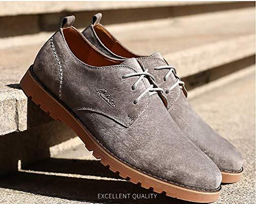 ata para para Color los los Hombres útiles los Zapatos Retros 5 HhGold cómodos los Arriba Azul 7 Reino EEUU Hombres tamaño de 5 los 6 Los Cuero Gris Unido de Ocasionales de Zapatos Unwzv0F