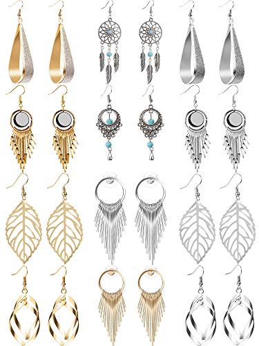 (12 Pairs Drop Dangle Earrings Golden Silvery Fashion Jewelry Fringed Tassel Character Exaggerated Earrings Set for Women Girls (Style A))