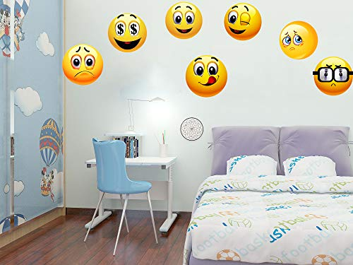 Okloy 10 Large Emoji Wall Decals, 10 Inch Each Cute Smile Emoticon Faces Wall Stickers Graphic, Removable, Reusable Home/Kids Room/Party Decoration