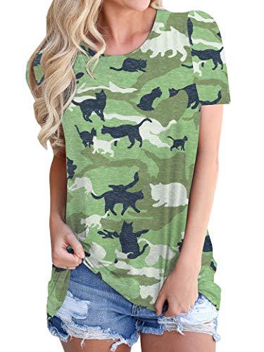 OUNAR Damen Nettes T-Shirt Camouflage Katzen Tee Grafik Gedruckt Bluse Farbblock Militär Sommer Casual Oben