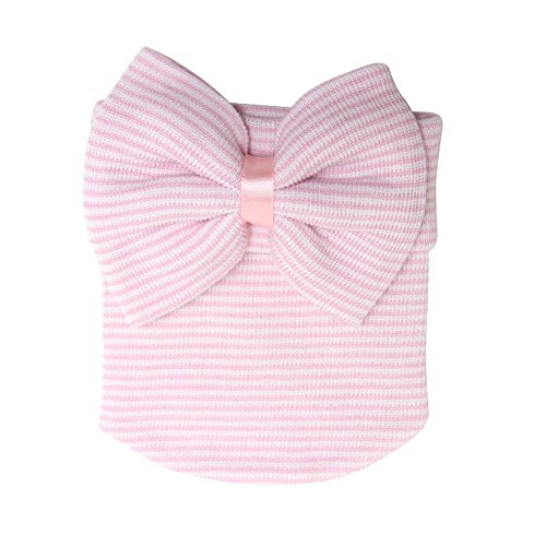 Shinywear Lovely Baby Girls Knit Hats Bow-knots Crochet Beanie Caps for Toddlers (Stripe (Lovely Pink Bow)