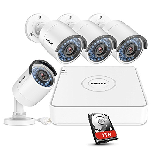 ANNKE 1080P POE NVR Security Camera System with 1TB Hard Drive and (4) 1.3MP 960P Outdoor IP Cameras, IP67 Weatherproof, 100ft Night Vision, Customize Motion Detection