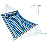 Hammock Quilted Fabric with Pillow Double Size Spreader Bar Heavy Duty Stylish for Outdoor Garden Patio, 14 FT, 2 Person 450 lbs Capacity(Blue Stripe)