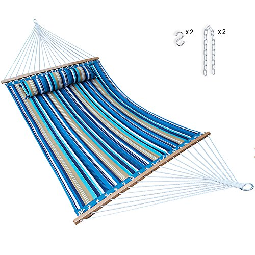 (Hammock Quilted Fabric with Pillow Double Size Spreader Bar Heavy Duty Stylish for Outdoor Garden Patio, 14 FT, 2 Person 450 lbs Capacity(Blue Stripe))
