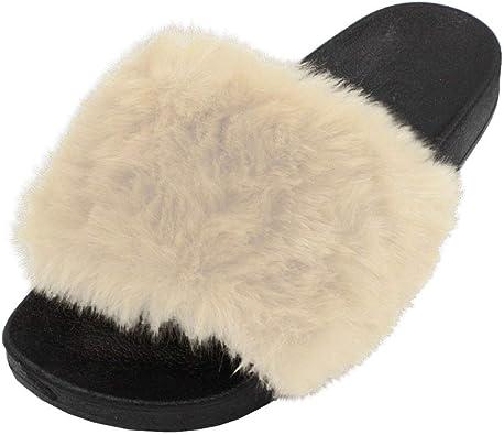 LAVRA Women's Faux Fur Slide Slip On