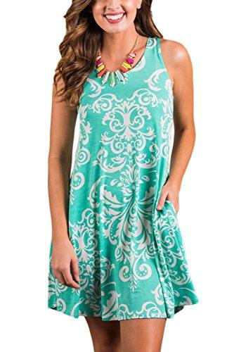 Mujer L Mini Vestido Sin Verde Floral La Mangas Tops Vestidos Falda Casual d7PExqqwft