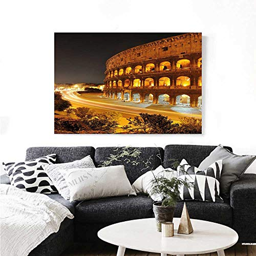 Italy Wall Paintings Colosseum at Night Scenery Rome European City Heritage Monument Landscape Print On Canvas for Wall Decor 24
