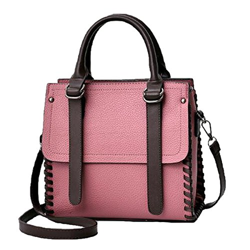 Bolso De Mano Superior De La Señora Satchel Bolso De Hombro De Cuero De La PU Para Las Mujeres Multicolor Pink