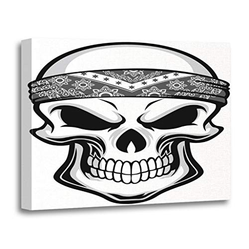 Emvency Painting Canvas Print Wooden Frame Artwork Cartoon Skull Wearing Bandana Tattoo Gangster Decorative 24x32 Inches Wall Art for Home Decor