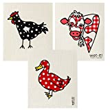 Wet-It Swedish Dishcloth Set of 3 (Red Polkadot Duck, Gingham Cow and Black Chicken)
