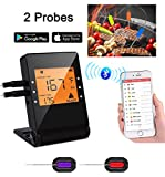 remote bbq thermometer iphone - Meat Thermometer, Bluetooth Grilling Cooking Thermometer with 2 Probes, Wireless Remote Digital Thermometer for Oven Kitchen Smoker BBQ, iPhone & Android Phone Supported By Heesai