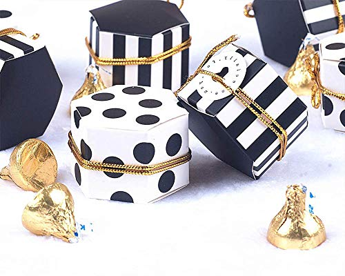 Black Polka Dot Favor - Treat Boxes Hexagon Stripes Candy Boxes bulk Polka Dot Favor Boxes Small Goodie Boxes With Rope And Tags Black White Candy Boxes For Baby Shower/Birthday/Wedding/Tea Party - 2