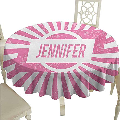 duommhome Jennifer Spill-Proof Tablecloth One of The Most Popular Names for Newborn American Girls in Retro Design Easy Care D63 Pale Pink and -